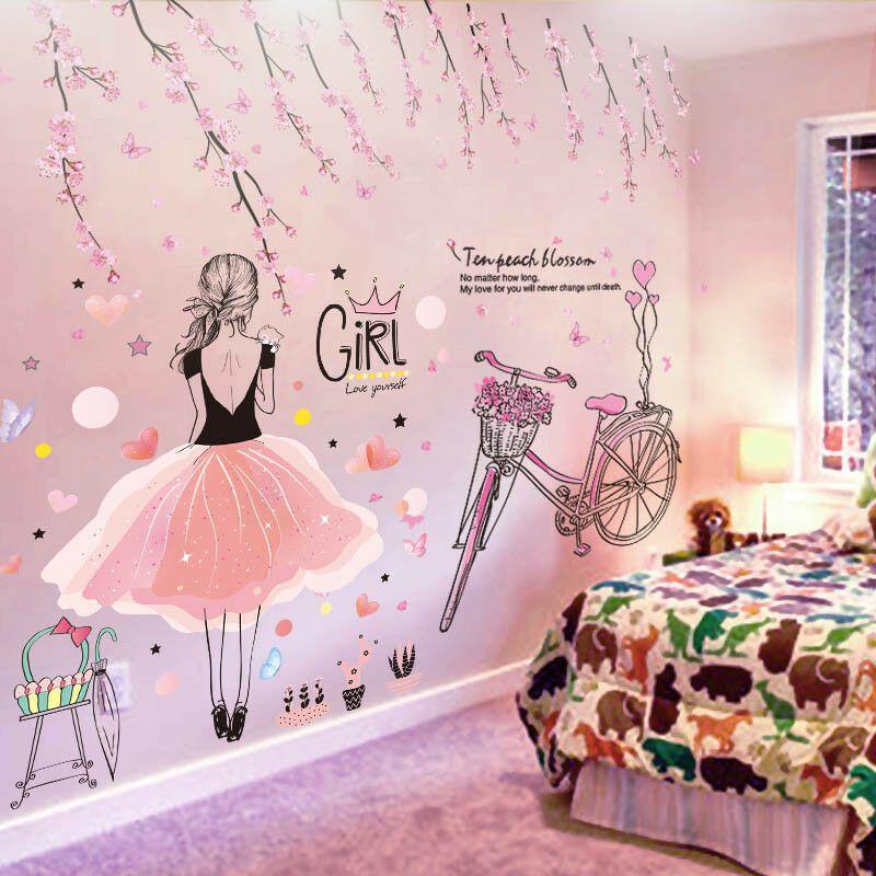 Best Cartoon Girl Wall Stickers Pvc Material Diy Peach Flowers 400 x 300