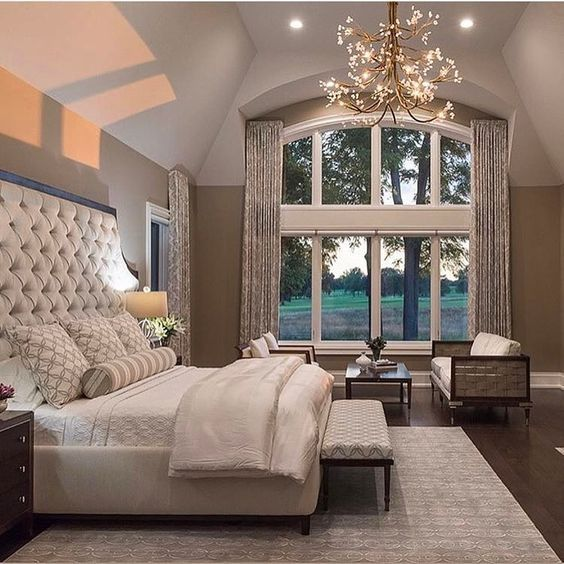 that big window vaulted ceiling and that bed - Beautiful Bedroom