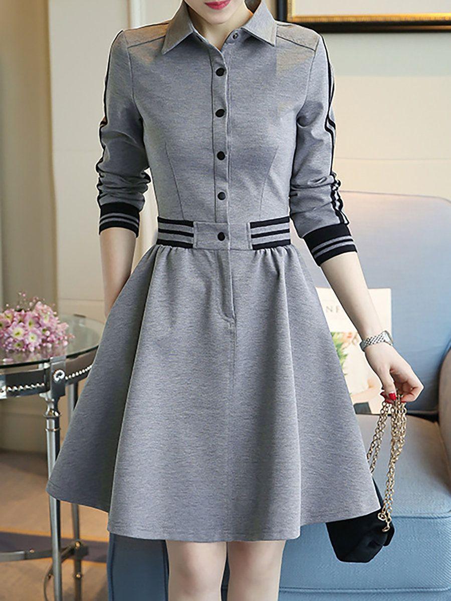 Justfashionnow Shawl Collar Gray Women Casual Dress A Line Daily Dress Long Sleeve Statement Paneled Solid Dress Fashion Plain Dress Long Sleeve Casual Dress [ 1200 x 900 Pixel ]