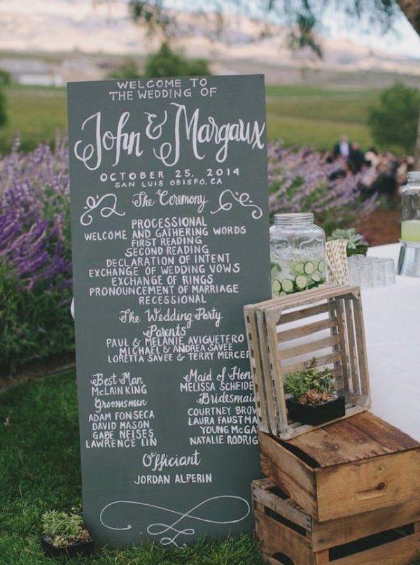 Rustic chic wedding ceremony program idea