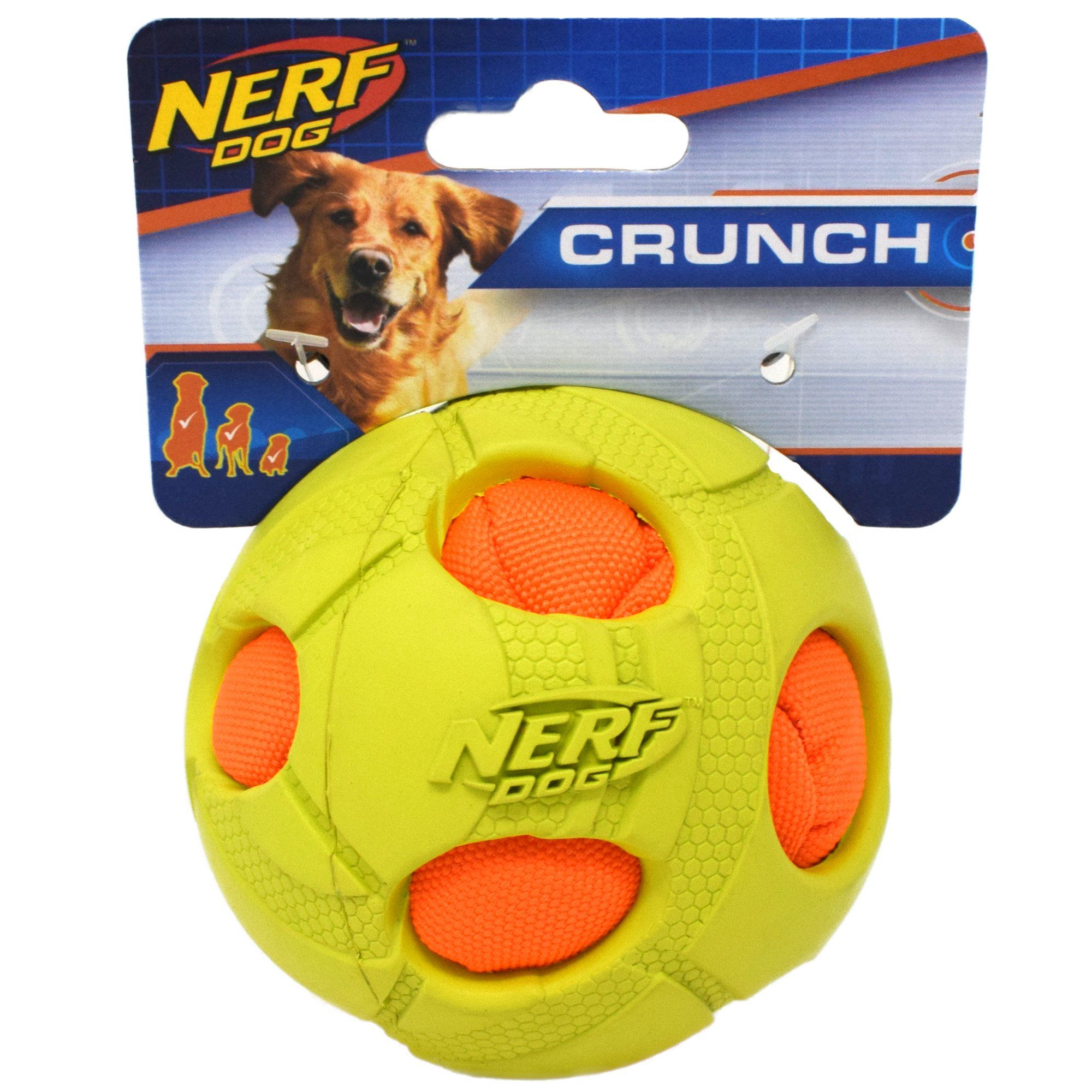 Interactive Dog Toys Nerf Green Bash Crunch Ball Dog Toy, Small | Petco