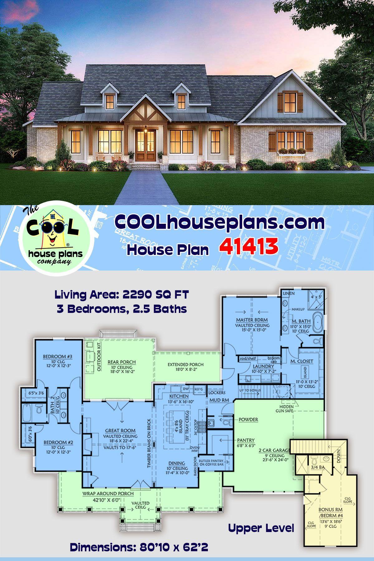 Farmhouse Style House Plan 41413 With 3 Bed 3 Bath 2 Car Garage Southern House Plans House Plans Farmhouse Craftsman Style House Plans