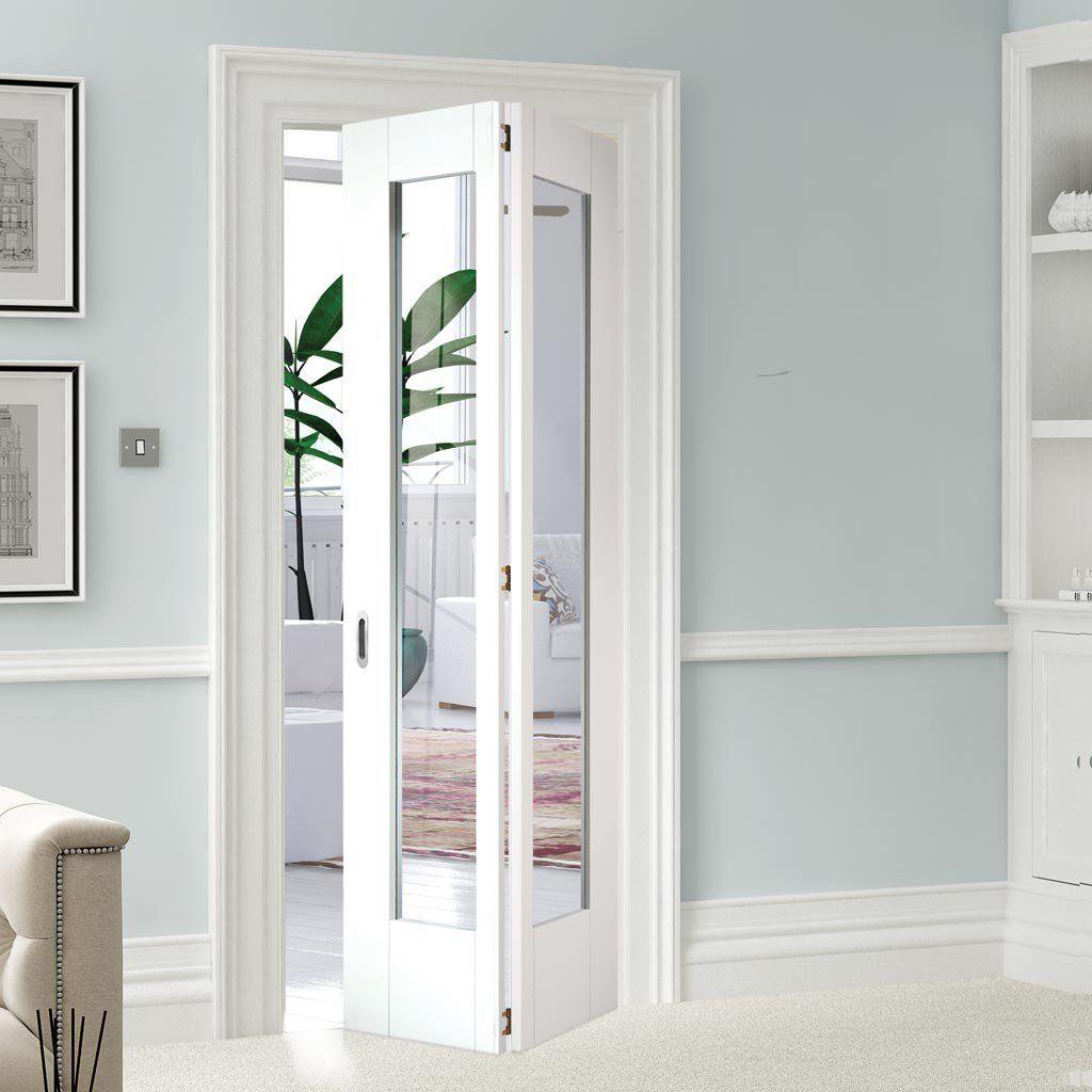 Shaker 1 Pane Glazed Bifold Door White Primed White Bifold Doors Bifold Interior Doors Folding Doors Interior