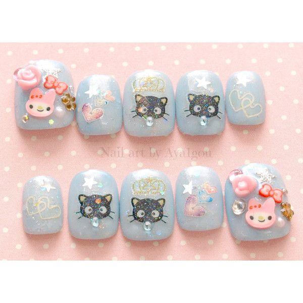 Kawaii nails, Japanese 3D nails, pastel, fairy kei, cats, bunny ...