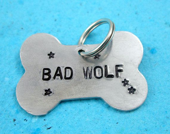 Bad Wolf Dog Tag Hand Stamped Doctor Who Bone Shaped By Oneeyedfox