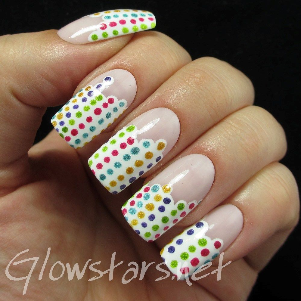 Dotty stripes: A manicure using All That Jazz My Ballerina Girl, All That Jazz Ice Ice Baby, Cirque Colors Panacea, Cirque Colors Chrysopoeia, Pretty & Polished Blurred Visible Nails Lines, Girly Bits Protect Your Girly Bits and Girly Bits Get Weaponized