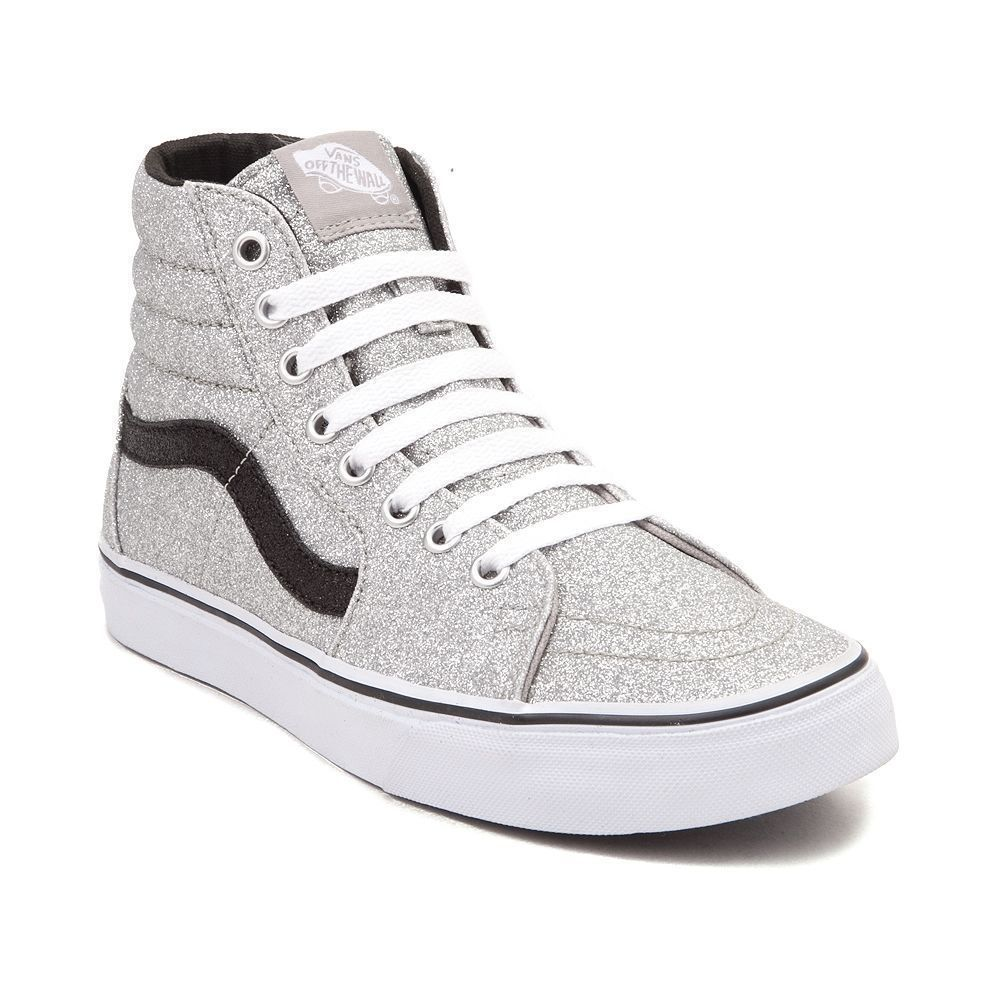 c8735bea88 New Vans Sk8 Hi Glitter Skate Shoe Silver Black High Top Sparkle metallic  Mens 9