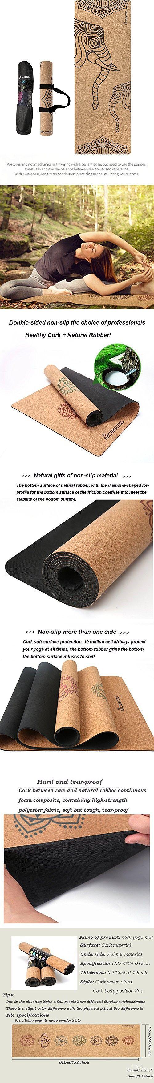 Nanle Cork Yoga Mat High Density Eco Friendly Natural Cork Tpe Sports Yoga Mat Natural Non Toxic Anti Slip Anti Bacterial Suitable For Pilates Fitness And Cork Yoga Mat Yoga Mat Pilates