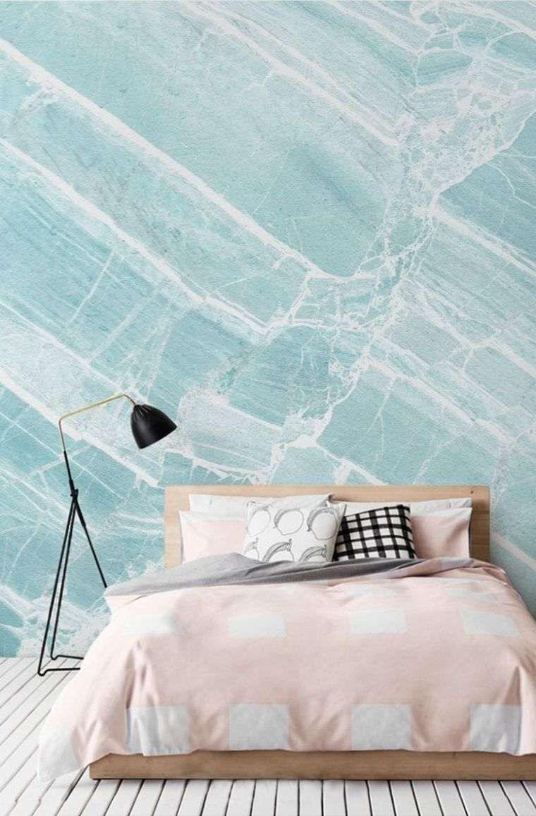 Déco Mur Effet Pierre Chambre A Coucher Couleur Bleu Deco