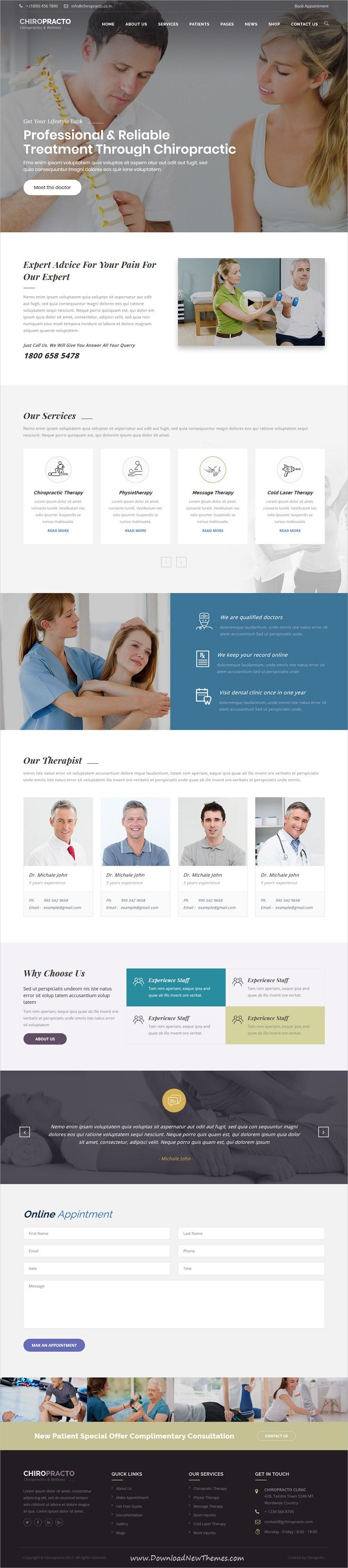 Chiropracto Physical Therapy Html Template Medical Clinic Design Clinic Design Medical Design