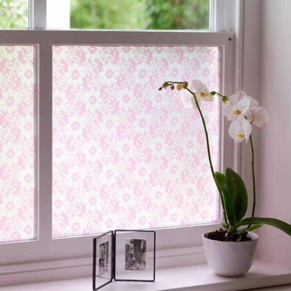 fenster verdunkeln fensterfolie rosanuancen blumenmotive. Black Bedroom Furniture Sets. Home Design Ideas