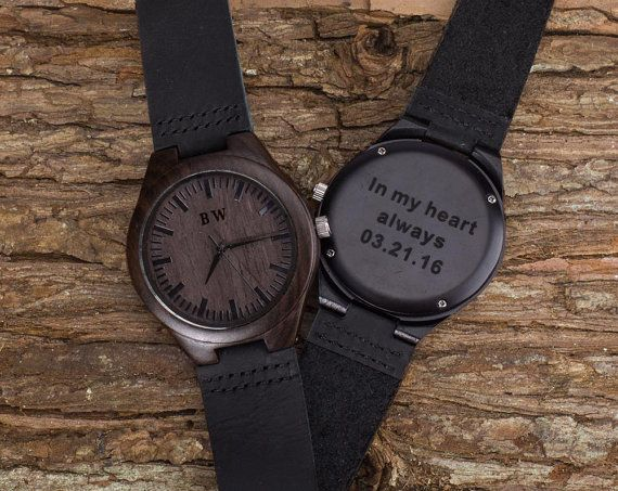 Watch As Wedding Gift: Engraved Wooden Watch For Men Groomsmen Gifts By