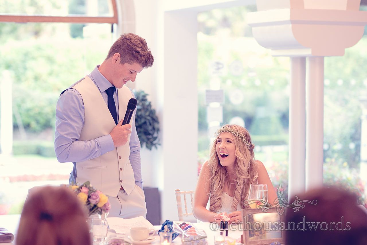 Bride Laughs At Grooms Wedding Speech Italian Villa Photographs Photography By One Thousand