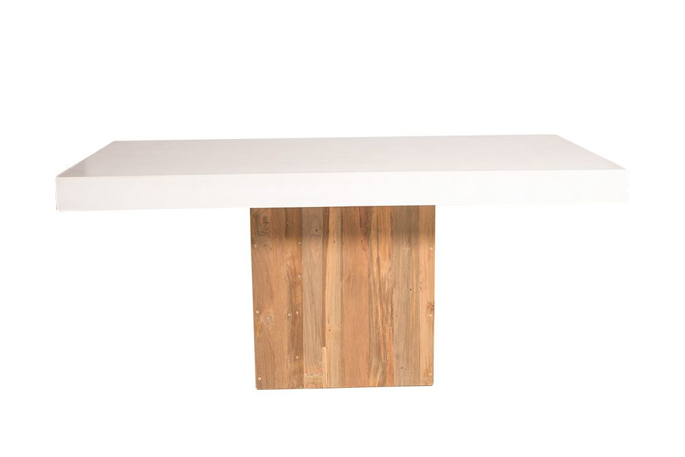 Seasonal Living   Perpetual Collection   Light Weight Concrete Table Top  With Reclaimed Teak Base