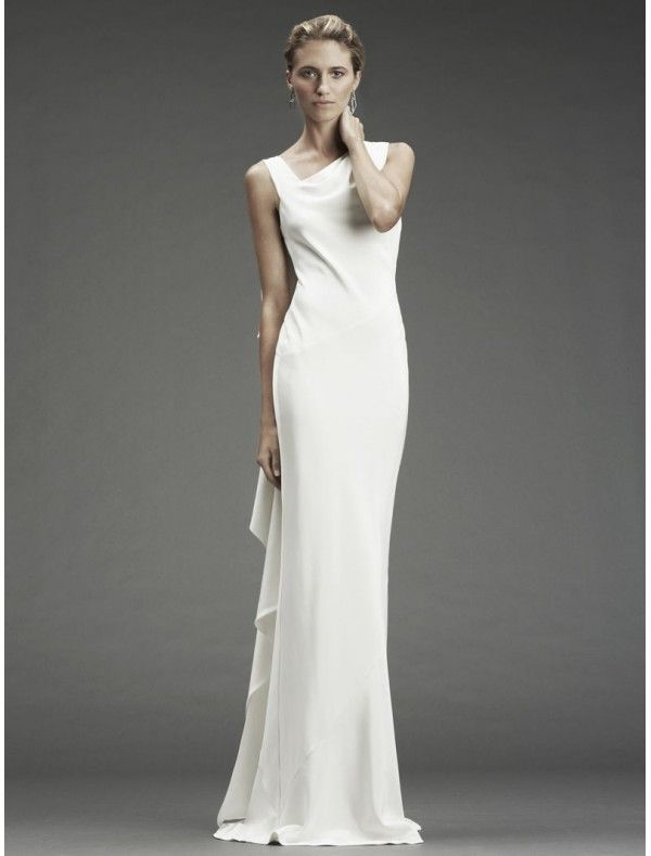 Satin sleeveless sheath wedding gown with cowl back style for Cowl back wedding dress