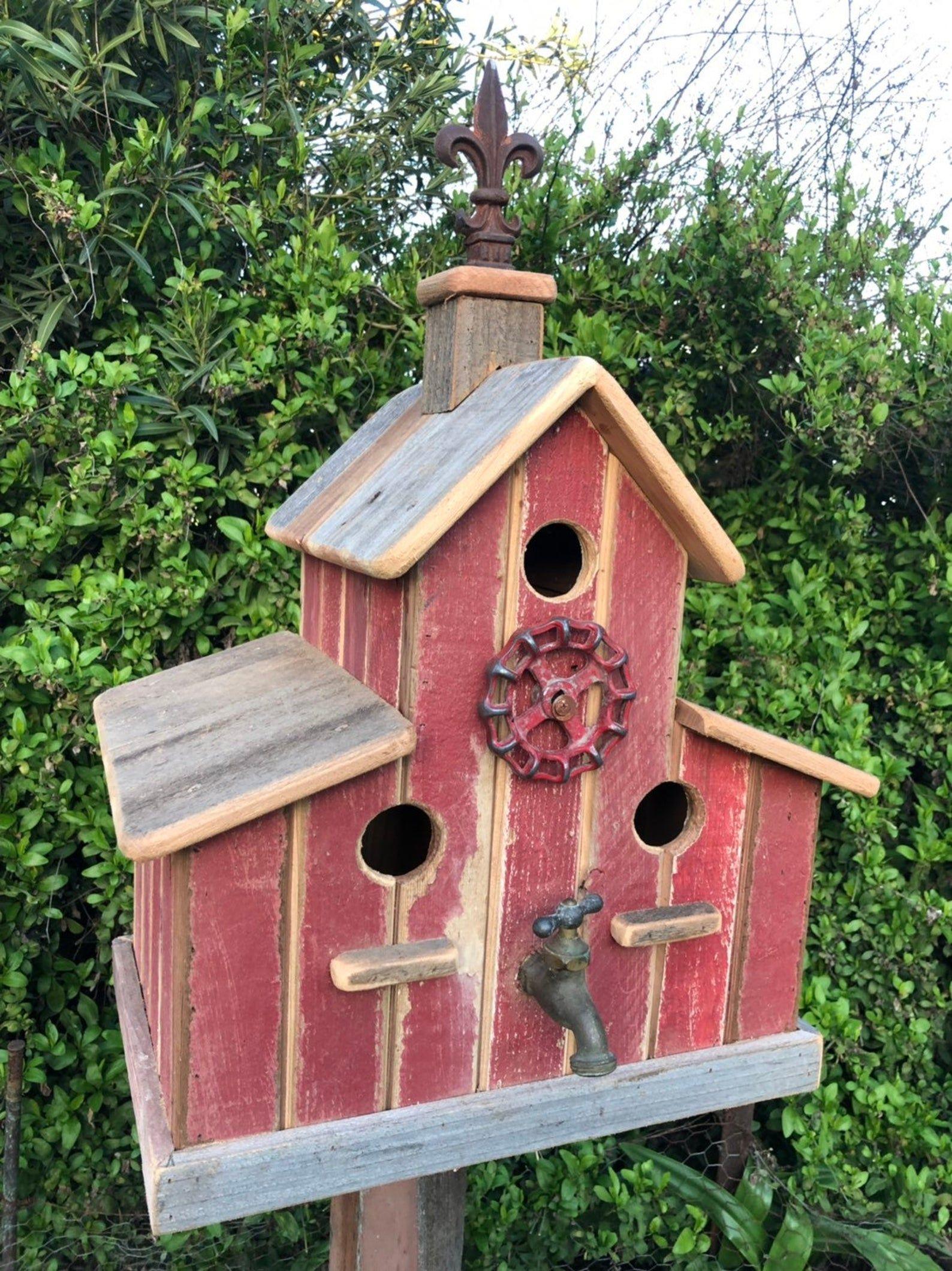 Ready To Ship Large Barn With Copula Barn Door Vintage Etsy In 2020 Decorative Bird Houses Barn Birdhouses Wooden Bird Houses