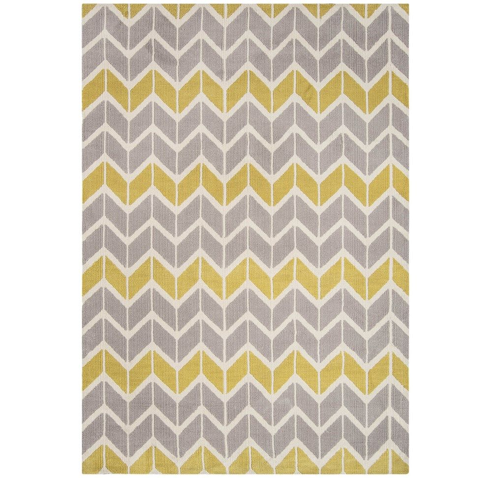 Arlo Chevron Rugs Ar06 In Lemon And Grey Online From The Rug Er Uk