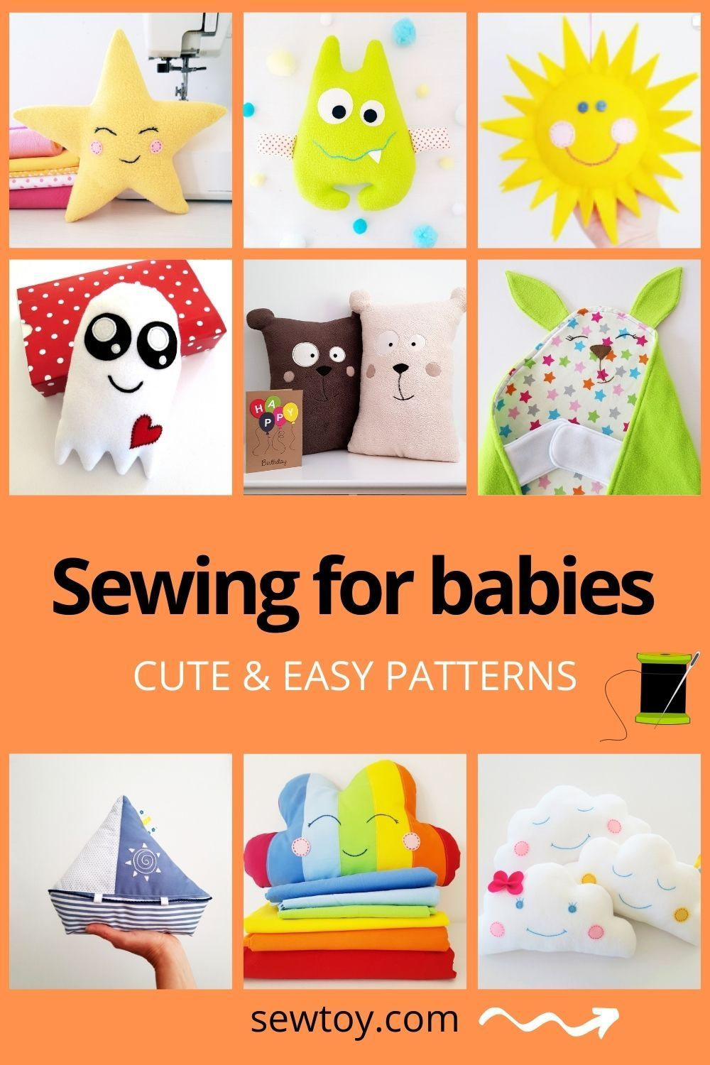Easy baby sewing projects for beginners for stuffed toys, soft toys, softies, plushies. Detailed