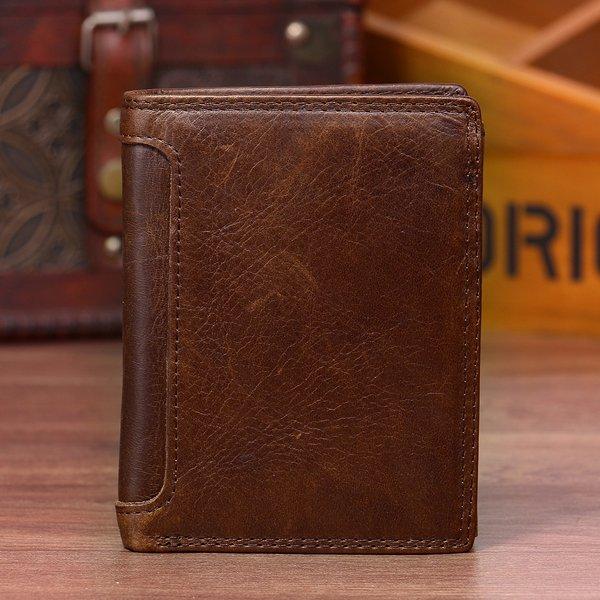Vintage Genuine Leather 13 Card Slots Driver License Tri