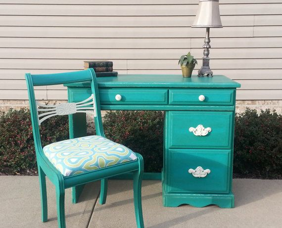 Shabby Chic Teal Desk  Antique Chair in Annie Sloan Chalk