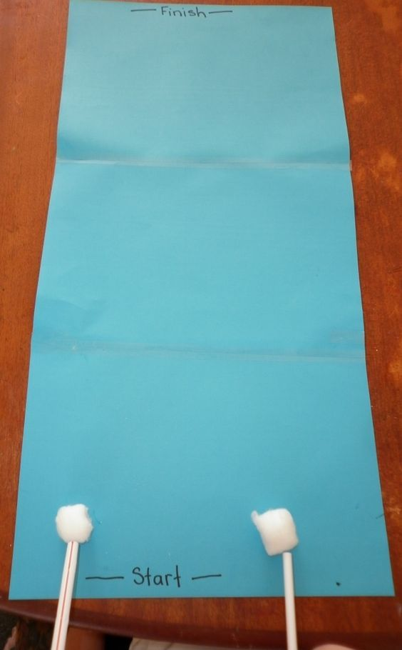 race cotton ball clouds across paper by blowing on them w/straws; same idea as…