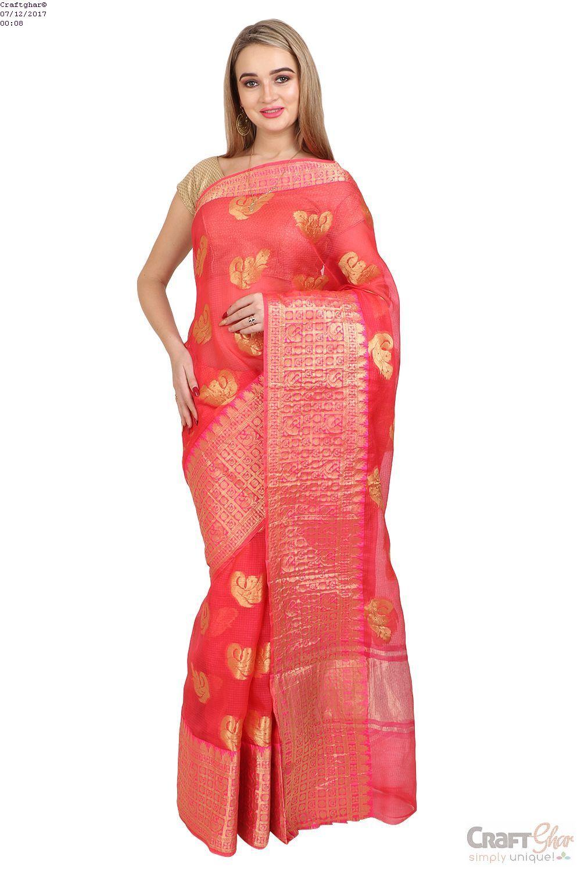 c8fb0d2ecd Craftghar Presents this beautiful Kota Doria Cotton Blue Gold Aari work  embroidered Saree Sari with Blouse.Kota Doria woven fabric with a unique ...