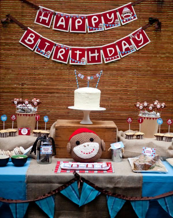 Sock Monkey Themed 1st Birthday Party Red Blue Boy Girl First