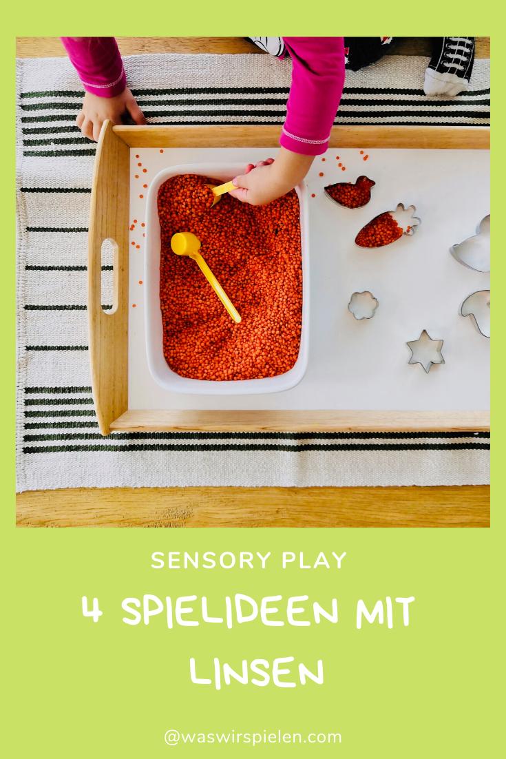 Spielideen für Kleinkinder, Beschäftigungsidee Kinder, Sensory Play, Linsenwanne