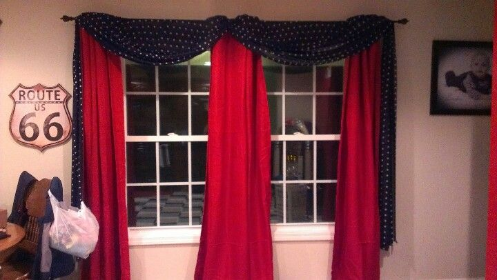 My Red Curtains With Black White Dot Scarf Fits My Retro