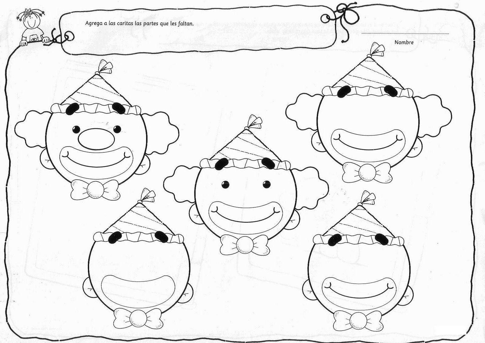 Recursos Y Actividades Para Educación Infantil Actividades Para Trabajar Las Partes De La Cara Actividades Caras De Payaso Juegos De Circo