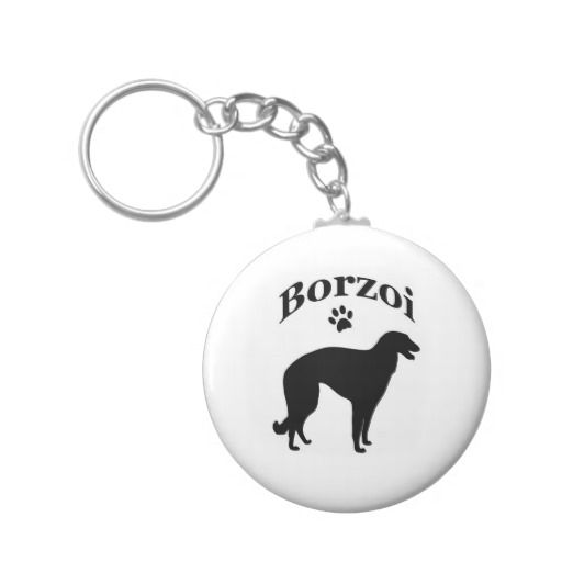 borzoi dog pawprint keychain