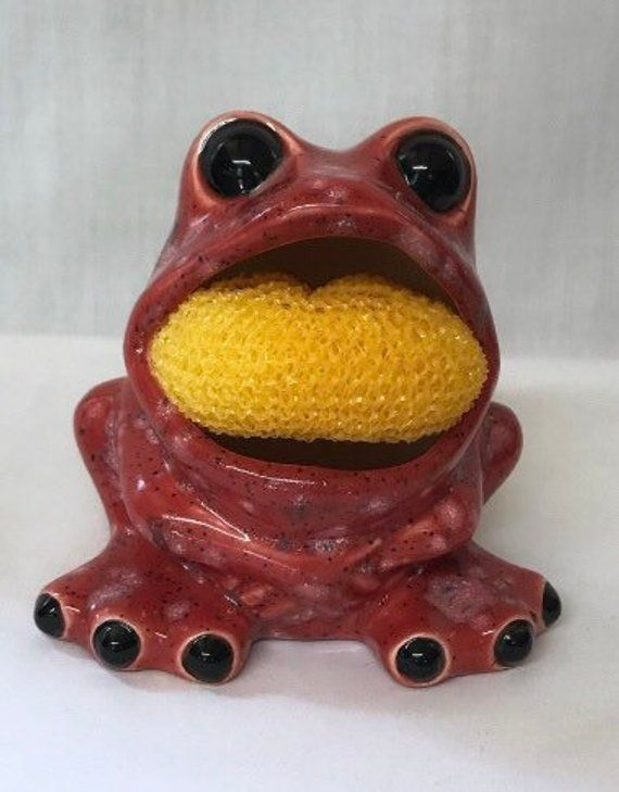 frog sponge holder frog scrubby holder kitchen decor frog decor