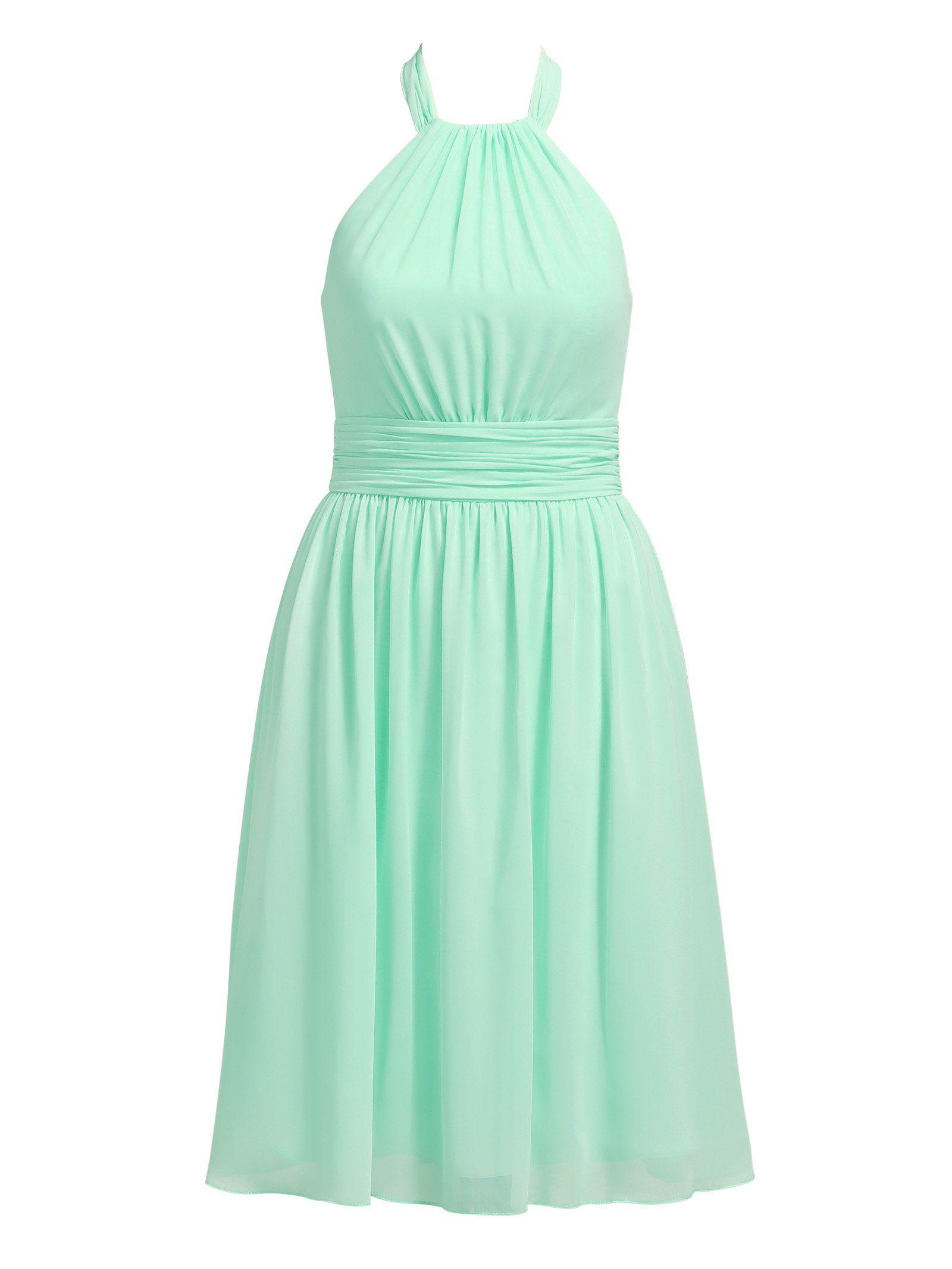 dbd3ebbf804 Alicepub Chiffon Bridesmaid Dresses Short Halter Evening Party Cocktail  Dress Knee Length Sleeveless Plus Size Mint