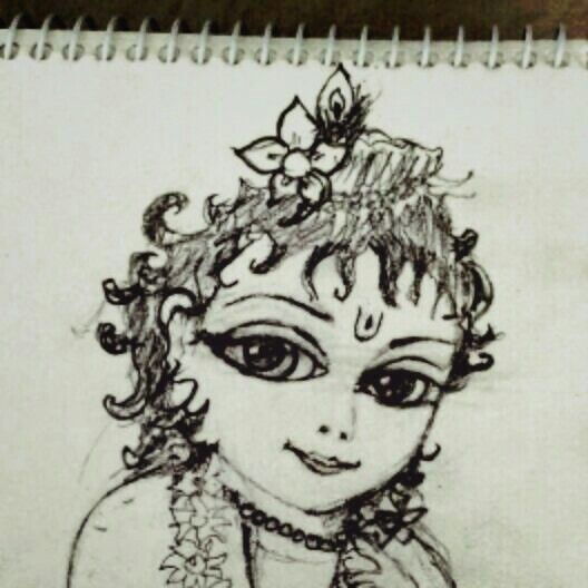 Baby krishna pencil sketch