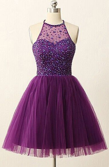 High Quality Jewel Sleeveless Homecoming Dresses,Open Back Illusion Back Purple Homecoming Dresses with Sequins Crystal