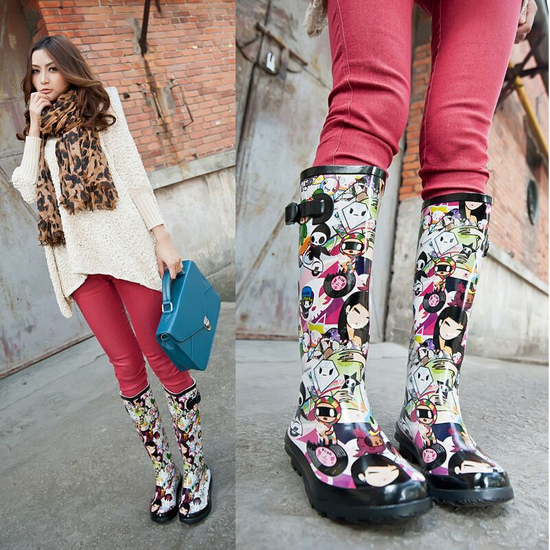 High Japanese Style Absorb Sweat Spring/autumn Hot Footwear Fashion Rain Boots Women Anti Slip Graffiti Bota Sleeve Deodorant-in Women's Boots from Shoes on Aliexpress.com | Alibaba Group