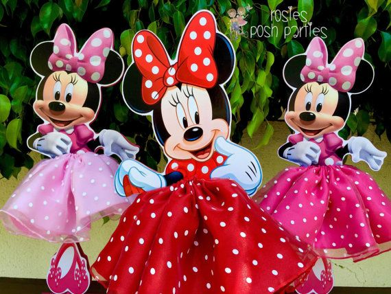 Minnie Mouse Tutu Birthday Decoration Tutu pink OR red version wood