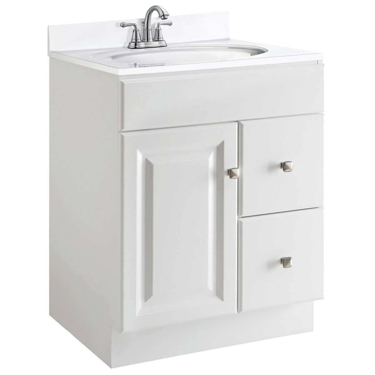Best 24 Inch Modern Bathroom Vanity Cabinet Base In White Semi 640 x 480