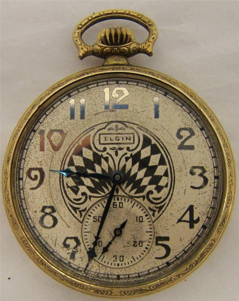 ART DECO 1930 ELGIN POCKET WATCH FANCY DIAL 7j 12s 303 GRADE GOLD FILLED  CASE #Elgin