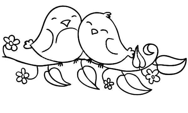 Love Birds Sitting On The Flowering Branch Coloring Pages Ptichki Risunok Ptic Risunki
