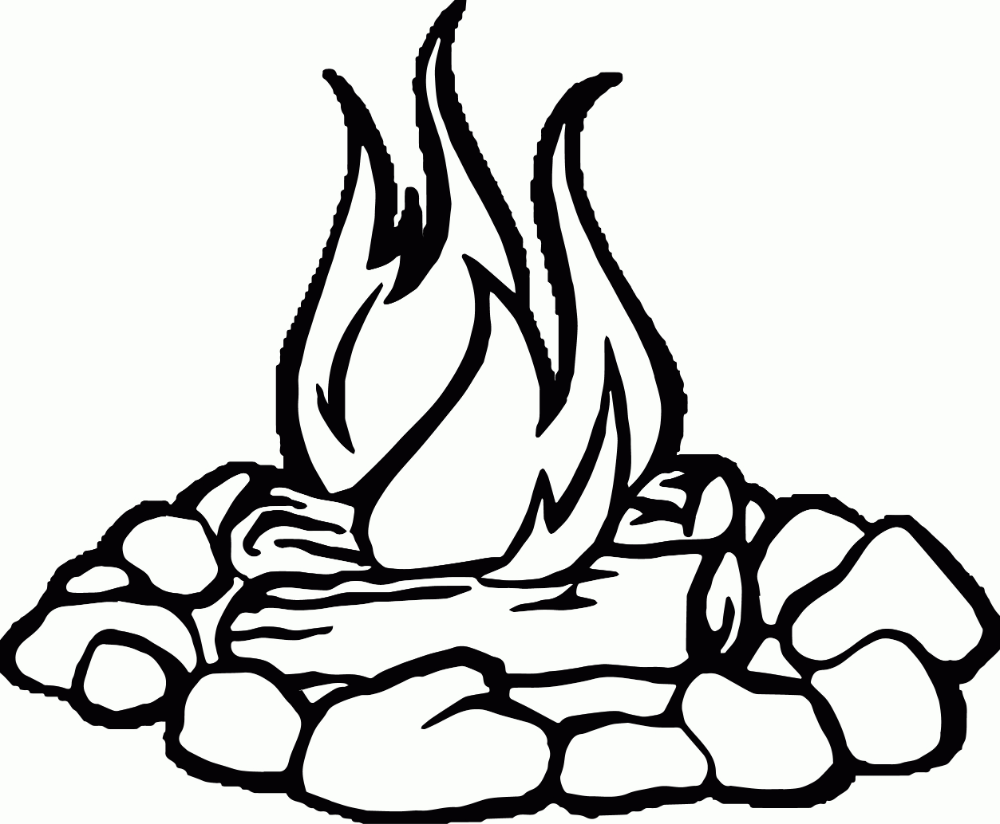 Clipart Black And White Beautiful Camping Coloring Pages Campfire Drawing Coloring Pages
