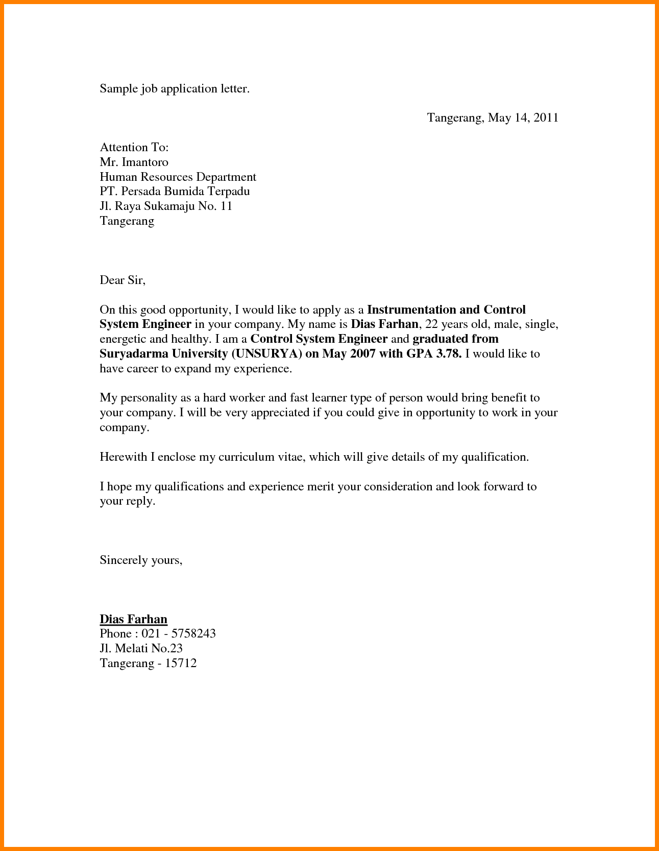 Sample job application letter by dedew93 Application