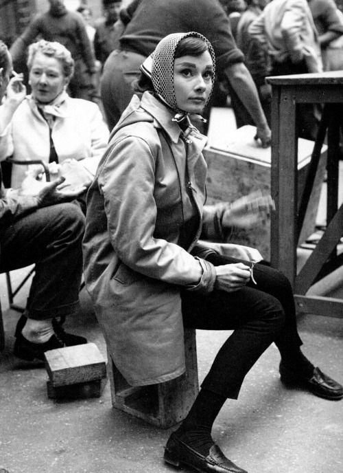 Vintage++Audry+Hepburn+in+Paris+France   Kerchief: Givenchy Boutique Paris. Pants: Rose Bertin (of the ...