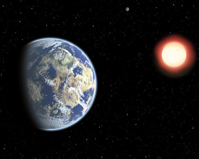 """This artist's illustration shows a red dwarf star orbited by a pair of habitable planets. Because red dwarf stars live so long — trillions of years — the probability of cosmic life grows over time. As a result, Earthly life might be considered """"premature,"""" a new study suggests. Credit: Christine Pulliam (CfA)"""