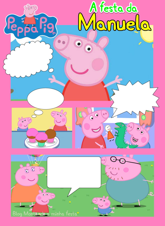 Convite gibi passo-a-passo, convite gibi personalizado, convite gibi peppa  pig, faça você mesma convite peppa pig