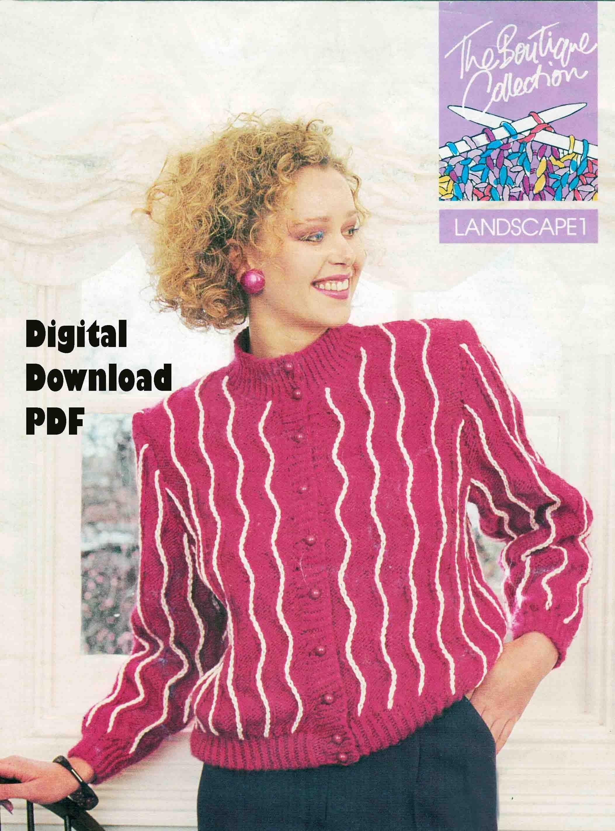 DIGITAL Zig Zag Ladies CARDIGAN Knitting Pattern Women ply Easy