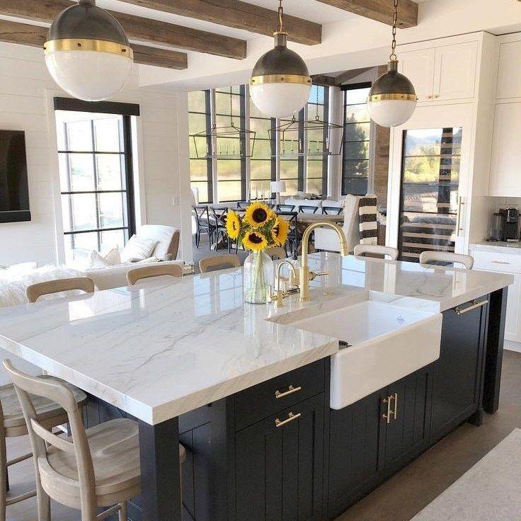 modern farmhouse kitchen island with seating