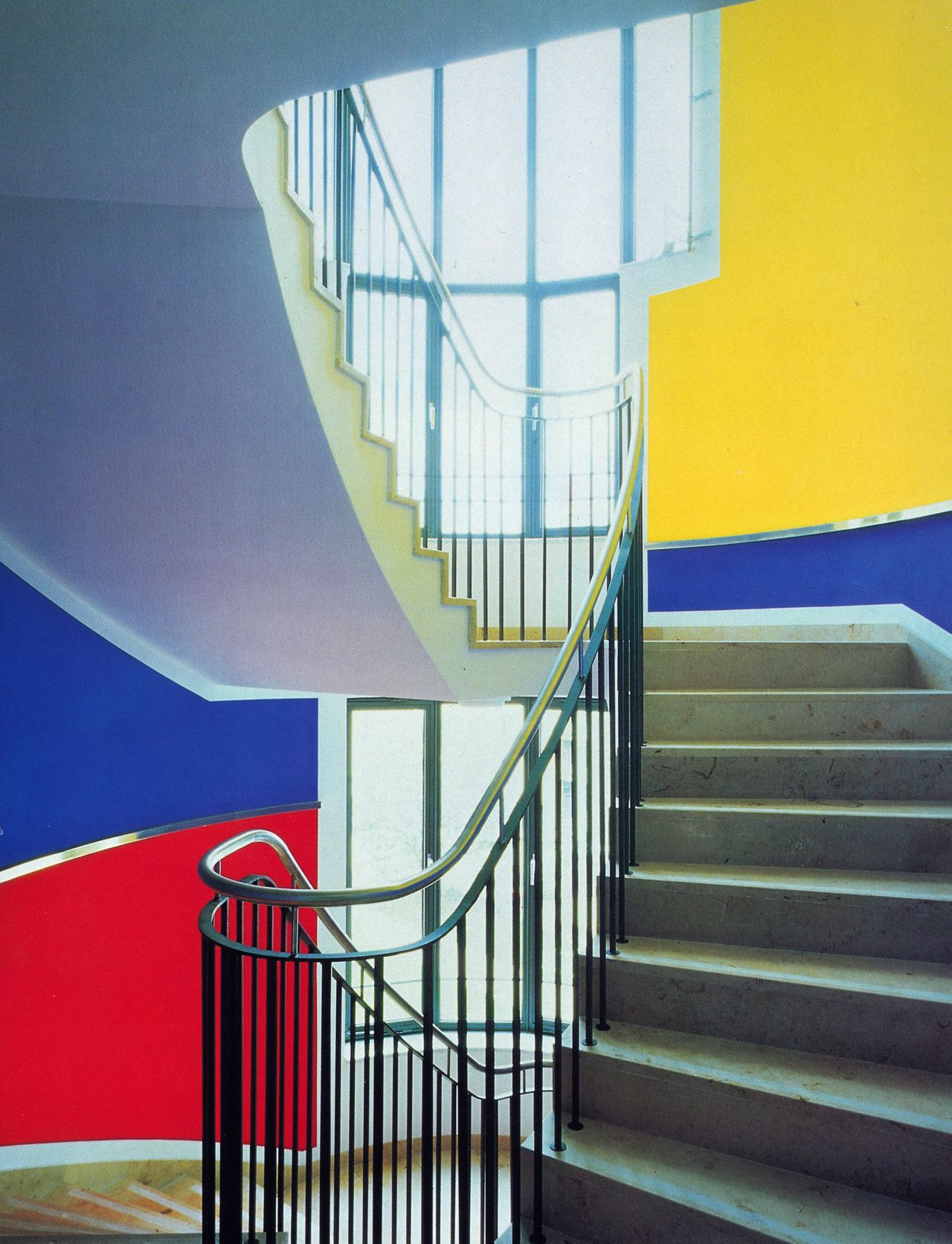 Retro Bank Design.Aesthetic German Architect Germany Stairs Paint Office