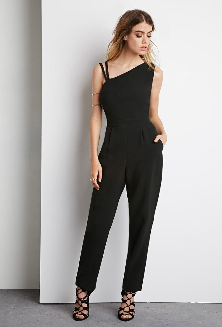 Asymmetrical Strappy Jumpsuit Casual Jumpsuit Solid Color Jumpsuits Jumpsuits For Women