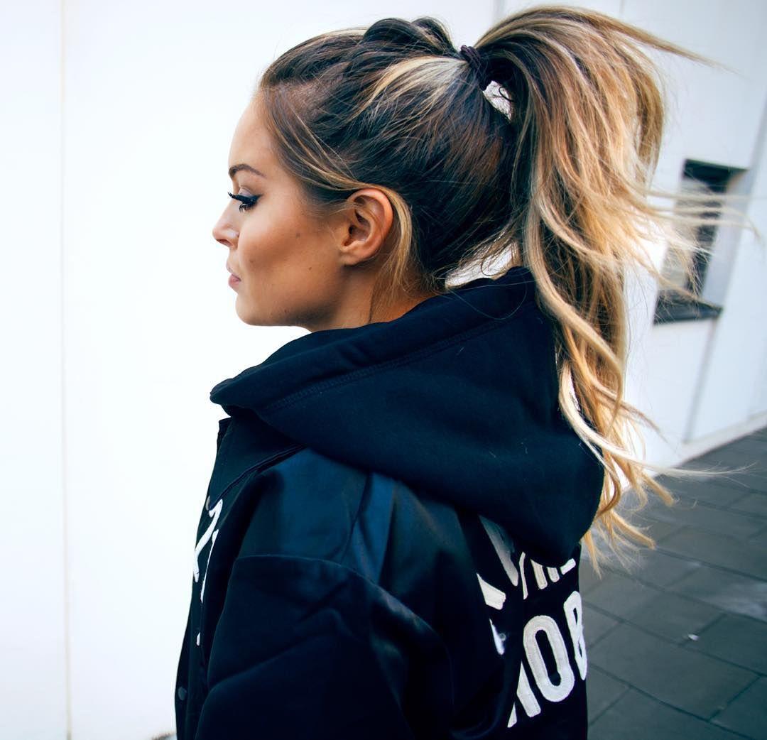 Voluminous hairstyles for long hair - High Ponytail For Long Dark Brown Hair With Honey Blonde Balayage